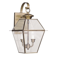 Livex 2281-01 Westover 2 Light 17 inch Antique Brass Outdoor Wall Lantern