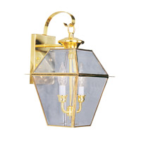 Livex 2281-02 Westover 2 Light 17 inch Polished Brass Outdoor Wall Lantern