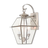 Livex 2281-91 Westover 2 Light 17 inch Brushed Nickel Outdoor Wall Lantern