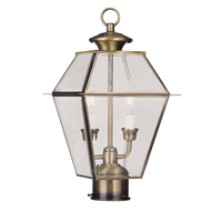Livex 2284-01 Westover 2 Light 17 inch Antique Brass Outdoor Post Head