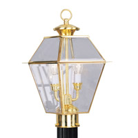 Livex 2284-02 Westover 2 Light 17 inch Polished Brass Outdoor Post Head