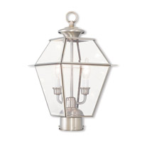 Livex 2284-91 Westover 2 Light 17 inch Brushed Nickel Post-Top Lantern