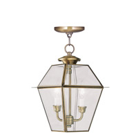 Livex Lighting Westover 2 Light Outdoor Hanging Lantern in Antique Brass 2285-01