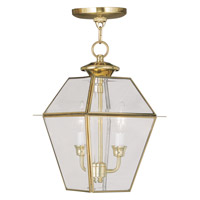 Livex 2285-02 Westover 2 Light 9 inch Polished Brass Outdoor Hanging Lantern