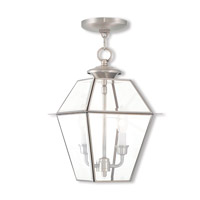 Livex 2285-91 Westover 2 Light 9 inch Brushed Nickel Outdoor Lantern
