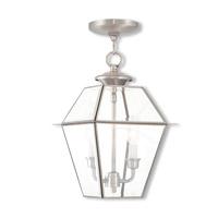 Livex 2285-91 Westover 2 Light 9 inch Brushed Nickel Outdoor Lantern