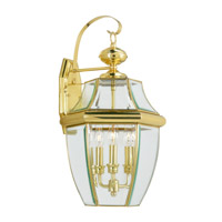 Livex 2351-02 Monterey 3 Light 23 inch Polished Brass Outdoor Wall Lantern