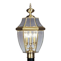 Livex 2354-01 Monterey 3 Light 24 inch Antique Brass Outdoor Post Head
