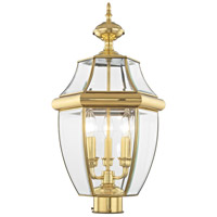 Livex 2354-02 Monterey 3 Light 24 inch Polished Brass Outdoor Post Head