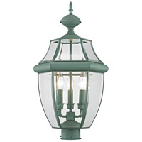 Livex 2354-06 Monterey 3 Light 24 inch Verdigris Outdoor Post Head