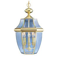 Livex 2355-02 Monterey 3 Light 13 inch Polished Brass Outdoor Hanging Lantern