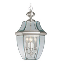 Livex Lighting Monterey 3 Light Outdoor Hanging Lantern in Brushed Nickel 2355-91