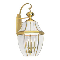 Livex 2356-02 Monterey 4 Light 30 inch Polished Brass Outdoor Wall Lantern