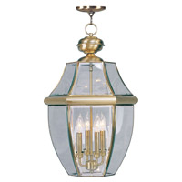 Livex Lighting Monterey 4 Light Outdoor Hanging Lantern in Antique Brass 2357-01