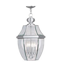 Livex Lighting Monterey 4 Light Outdoor Hanging Lantern in Brushed Nickel 2357-91