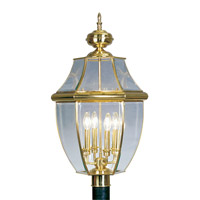 Livex 2358-02 Monterey 4 Light 29 inch Polished Brass Outdoor Post Head photo thumbnail
