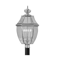 Livex Lighting 2358-91 Monterey 4 Light 29 inch Brushed Nickel Outdoor Post Top Lantern
