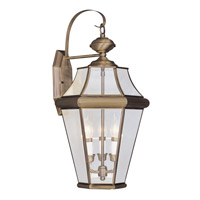 Livex Lighting Georgetown 3 Light Outdoor Wall Lantern in Antique Brass 2361-01 photo thumbnail