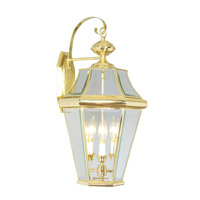Livex 2361-02 Georgetown 3 Light 24 inch Polished Brass Outdoor Wall Lantern
