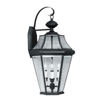 Livex Lighting Georgetown 3 Light Outdoor Wall Lantern in Black 2361-04 photo thumbnail