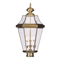 Livex Lighting Georgetown 3 Light Outdoor Post Head in Antique Brass 2364-01
