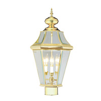 Livex Lighting Georgetown 3 Light Outdoor Post Head in Polished Brass 2364-02