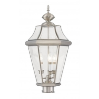 Livex Lighting 2364-91 Georgetown 3 Light 23 inch Brushed Nickel Outdoor Post Top Lantern