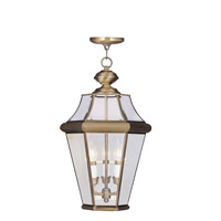 Livex Lighting Georgetown 3 Light Outdoor Hanging Lantern in Antique Brass 2365-01 photo thumbnail
