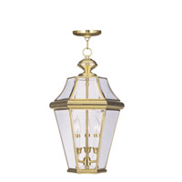 Livex Lighting Georgetown 3 Light Outdoor Hanging Lantern in Polished Brass 2365-02