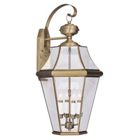 Livex Lighting Georgetown 4 Light Outdoor Wall Lantern in Antique Brass 2366-01