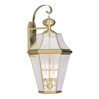 Livex 2366-02 Georgetown 4 Light 30 inch Polished Brass Outdoor Wall Lantern