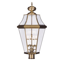 Livex Lighting Georgetown 4 Light Outdoor Post Head in Antique Brass 2368-01