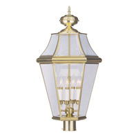 Livex 2368-02 Georgetown 4 Light 29 inch Polished Brass Outdoor Post Head