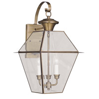 Livex 2381-01 Westover 3 Light 23 inch Antique Brass Outdoor Wall Lantern