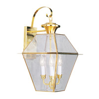 Livex 2381-02 Westover 3 Light 23 inch Polished Brass Outdoor Wall Lantern