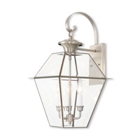 Livex 2381-91 Westover 3 Light 23 inch Brushed Nickel Outdoor Wall Lantern