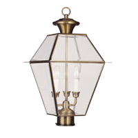 Livex Lighting Westover 3 Light Outdoor Post Head in Antique Brass 2384-01