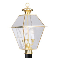Livex 2384-02 Westover 3 Light 22 inch Polished Brass Outdoor Post Head