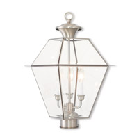 Westover 3 Light 21 inch Brushed Nickel Post-Top Lantern