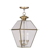 Livex Lighting Westover 3 Light Outdoor Hanging Lantern in Antique Brass 2385-01