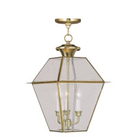 Livex Lighting Westover 3 Light Outdoor Hanging Lantern in Polished Brass 2385-02