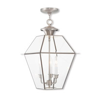 Westover 3 Light 12 inch Brushed Nickel Outdoor Lantern