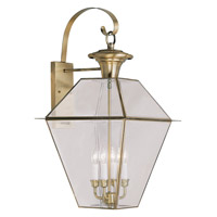 Livex Lighting Westover 4 Light Outdoor Wall Lantern in Antique Brass 2386-01