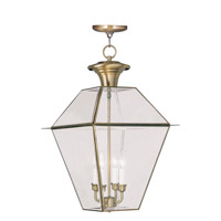 Livex Lighting Westover 4 Light Outdoor Hanging Lantern in Antique Brass 2387-01