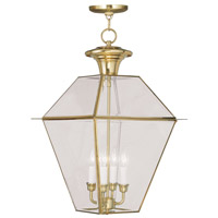 Livex Lighting Westover 4 Light Outdoor Hanging Lantern in Polished Brass 2387-02