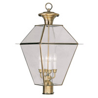 Livex Lighting Westover 4 Light Outdoor Post Head in Antique Brass 2388-01