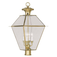 Livex Lighting Westover 4 Light Outdoor Post Head in Polished Brass 2388-02