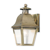 Livex 2550-01 Amwell 1 Light 14 inch Antique Brass Outdoor Wall Lantern