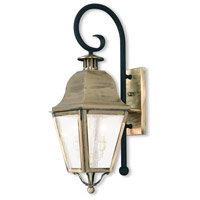 Livex 2551-01 Amwell 2 Light 25 inch Antique Brass and Black Outdoor Wall Lantern