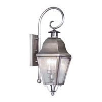 Livex Lighting Amwell 2 Light Outdoor Wall Lantern in Vintage Pewter 2551-29